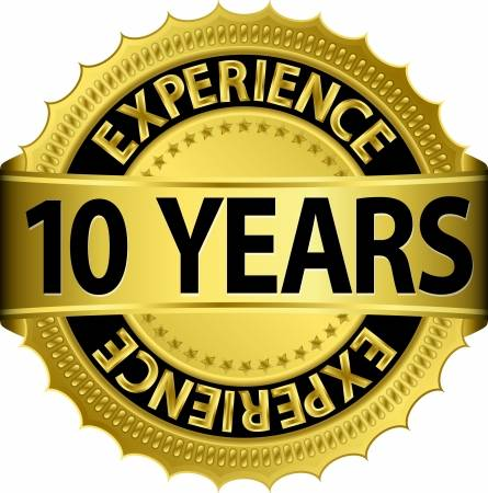 15656435 10 years experience golden label with ribbon